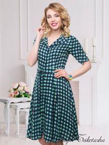 Платье Кэмерон Ди (клетка,бирюза)