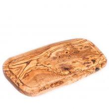 Доска разделочная для нарезки и подачи HandMade из оливы с желобком большая - 40 см (Тунис)
