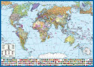 Политическая карта мира с флагами. Крым в составе РФ - развивающий коврик для новорожденного по системе п.в. Тюленева