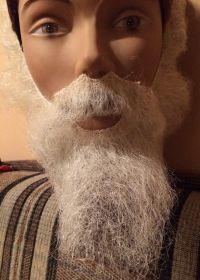 Борода с усами белая