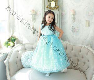 Пышное платье со шлейфом принцессы Эльзы на рост 110, 120, 130 см