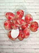 камея с сердечками  гранёной поверхностью размер 4*3 см